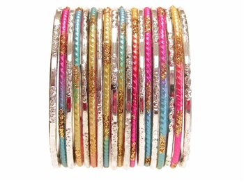 Soft rainbow and Silver Bangles