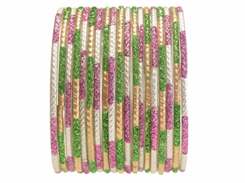Lime, Purple, Gold, and Silver Bangles