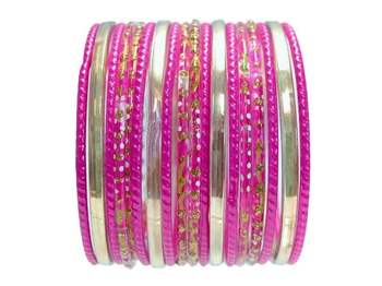 fuchsia Magenta Pink Indian Glass Bangle