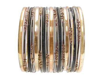 Black white gold Indian Glass Bangle Bracelets