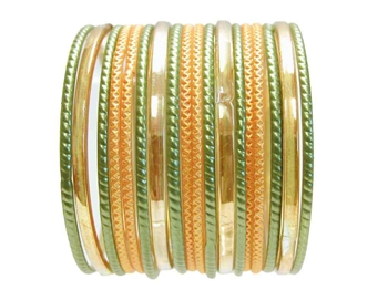 Yellow and Green Mehndi Party Glass Bangles