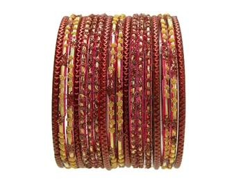 Rich Burgundy Red and Gold Glass Bangles