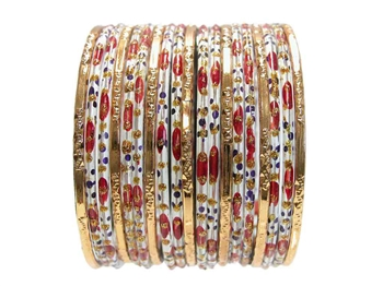 Classic Red Gold Indian Glass Bangles