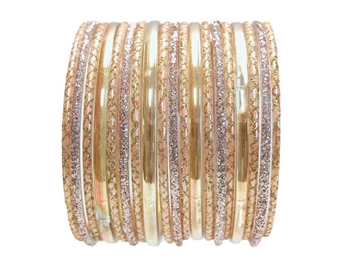 Elegant Peach Rose Gold Indian Glass Bangles