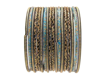 Black Gold Turquoise Blue Indian Glass Bangles