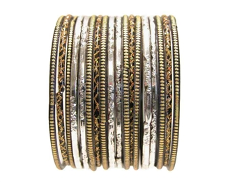 Black Gold Silver Indian Glass Bangles