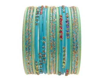 Rainbow Turquoise Indian Glass Bangles