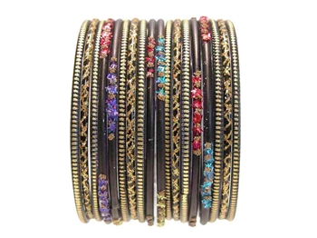 Rainbow Black Gold Indian Glass Bangles