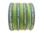 Lime green Turquoise Glass Bangles Bracelet Sets