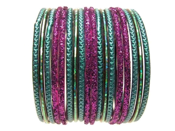 Peacock Teal Purple Glass Bangles Bracelet Sets