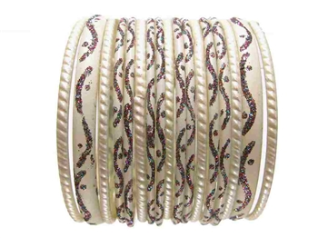 white Ivory Glass Bangles Bracelet Sets