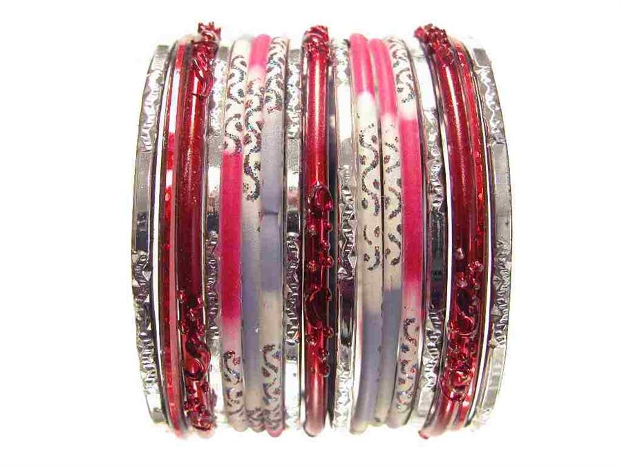Red Gray Silver Gl Bangles Bracelet Sets