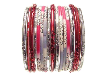 Red Gray Silver Glass Bangles Bracelet Sets