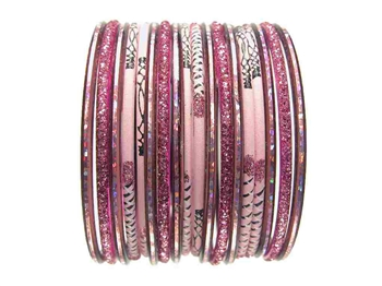 Pink Glass Bangles Bracelet Sets