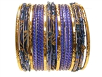 blue Gold Glass Bangles Bracelet Sets
