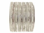 Silver Indian Glass Bangles Set