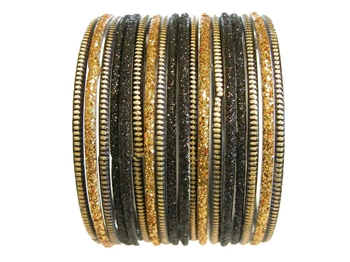 Heavily glittered glass bangles in black and gold.