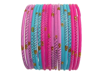 Lavender, pink, and turquoise matte bangles accented with gold glitter.