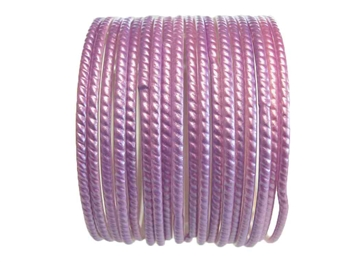 Lovely warm lavender colored bangles with texture but no glitter.