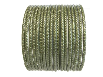 Olive army green bangles that are textured but with no glitter.