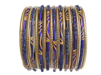 Matte gold bangles and indigo blue bangles with gold accents.