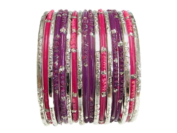 Bright purple and fuchsia pink with metallic silver glass bangles.