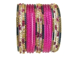 Bright magenta pink bangles with black and gold glitter accents.