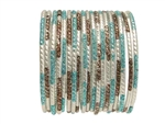 Matte silver bangles accented with brown and light blue glitter.
