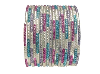 Matte silver bangles accented with purple, lavender, and turquoise blue glitter.