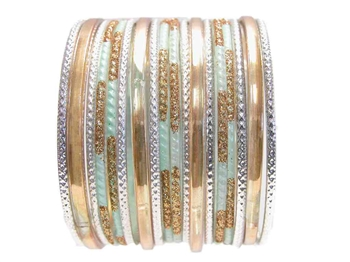 Light sky blue gold Indian Glass Bangle Bracelets