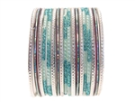 Light sky blue silver Indian Glass Bangle Bracelets