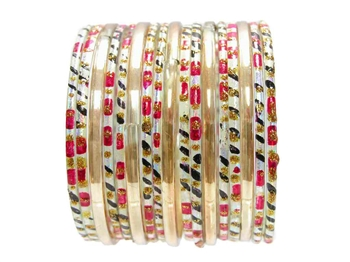Red black silver Indian Glass Bangles