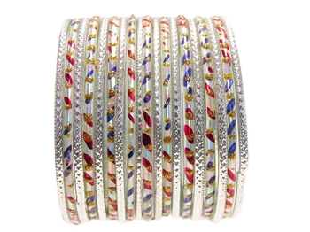 Red purple silver Indian Glass Bangles