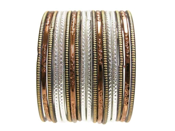 Bronze Black Silver Indian Glass Bangles