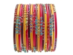 Brown Yellow Red Indian Glass Bangles