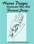 A fresh look at the traditional mehndi sangeet strip henna design in a mini henna design eBook. These super pretty henna designs are popular at festivals and are great for henna practice.