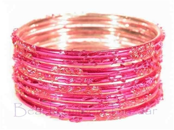 Festive Fuchsia Pink Indian GLASS Bracelets Build-A-Bangle M/L 2.10