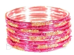 Festive Fuchsia Pink Gold Indian GLASS Bracelets Build-A-Bangle M/L 2.10