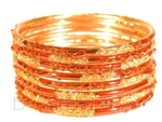 Festive Gold Orange Indian GLASS Bracelets Build-A-Bangle M/L 2.10