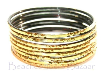 Metallic Gold Indian GLASS Bangles Sari Bracelets Bollywood Build-A-Bangle XL 2.12