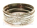 Metallic Silver Indian GLASS Bangles Sari Style Bracelets Build-A-Bangle 2.6