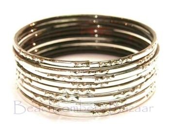 Metallic Silver Indian GLASS Bangles Sari Style Bracelets Build-A-Bangle XL 2.12