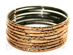 Metallic Bronze/Brown Indian GLASS Bangles Sari Style Bracelets Build-A-Bangle M/L 2.10
