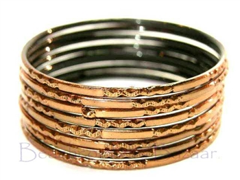 Metallic Bronze Brown Indian GLASS Bangles Sari Bracelets Build-A-Bangle 2.6