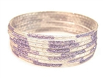 Glitter Stamped Lavender Indian GLASS Bracelets Build-A-Bangle XL 2.12