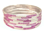 Glitter Stamped Purple Indian GLASS Bracelets Build-A-Bangle L 2.10