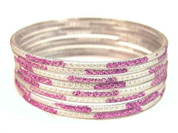 Glitter Stamped Purple Indian GLASS Bracelets Build-A-Bangle XL 2.12