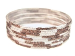 Glitter Stamped Brown Indian GLASS Bracelets Build-A-Bangle L 2.10