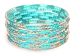 Silver Glitter Turquoise Indian GLASS Bangles Sari Bracelets Build-A-Bangle XL 2.12