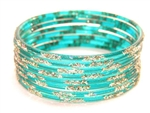 Silver Glitter Teal Green Indian GLASS Bangles Sari Bracelets Build-A-Bangle M/L 2.10